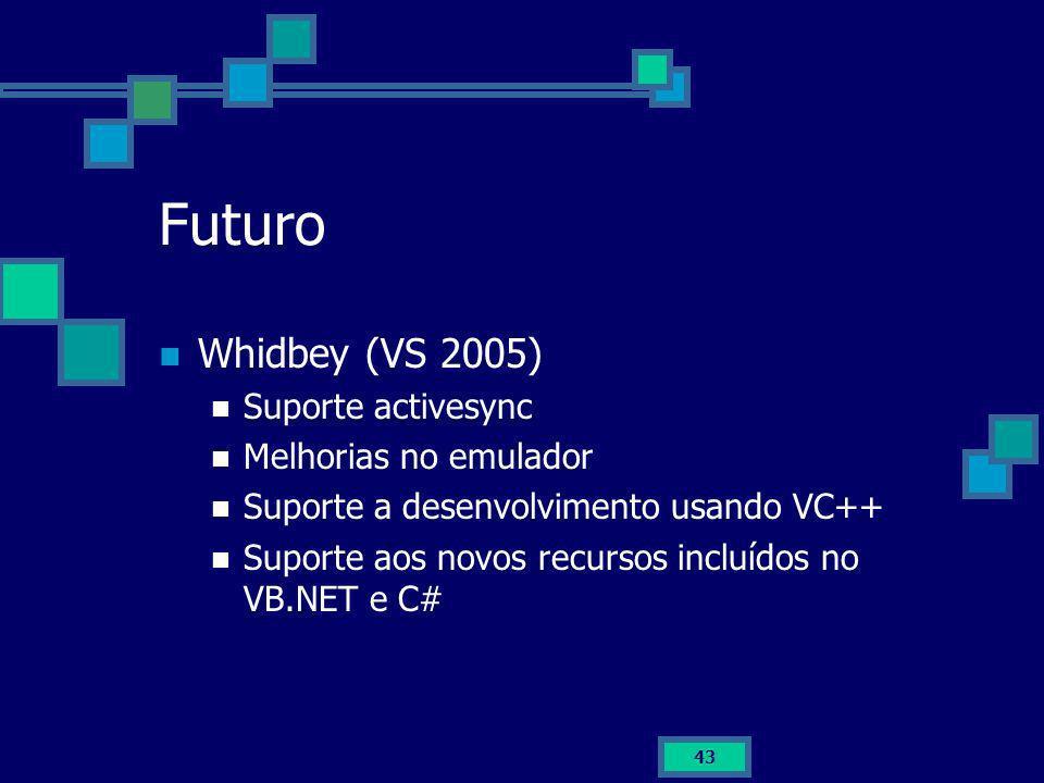 Futuro Whidbey (VS 2005) Suporte activesync Melhorias no emulador