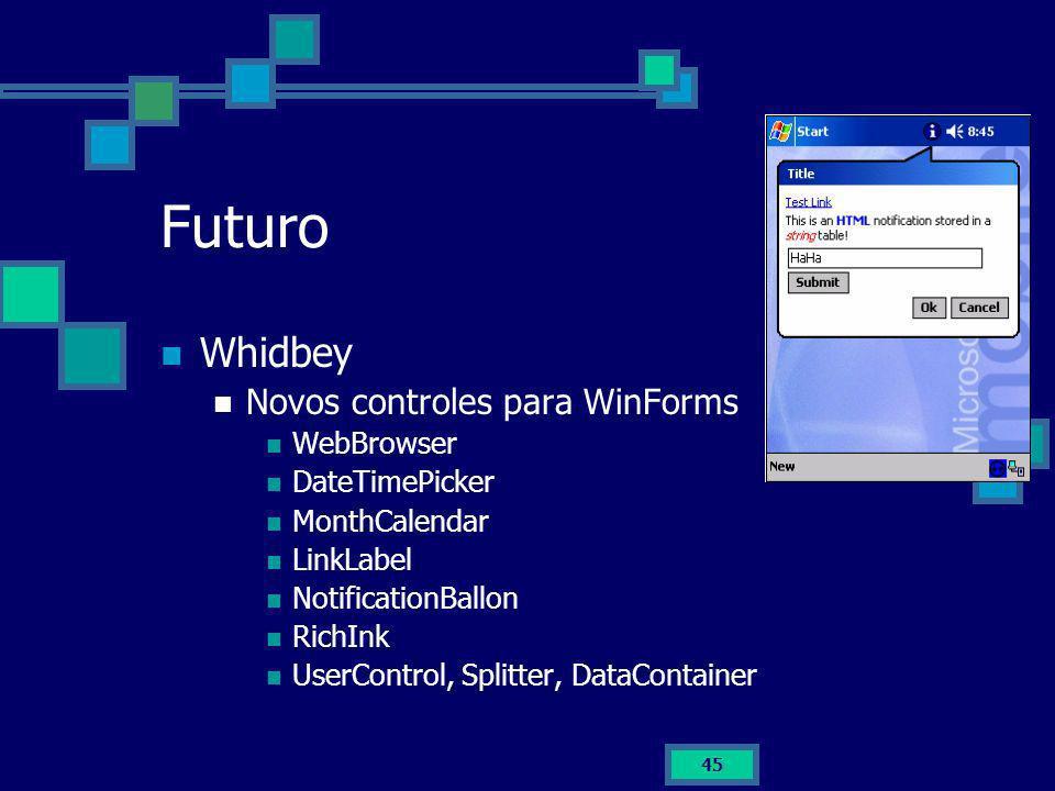 Futuro Whidbey Novos controles para WinForms WebBrowser DateTimePicker
