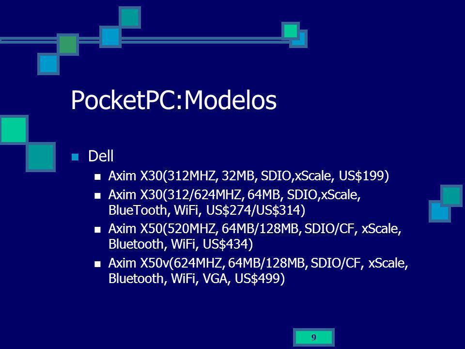 PocketPC:Modelos Dell Axim X30(312MHZ, 32MB, SDIO,xScale, US$199)