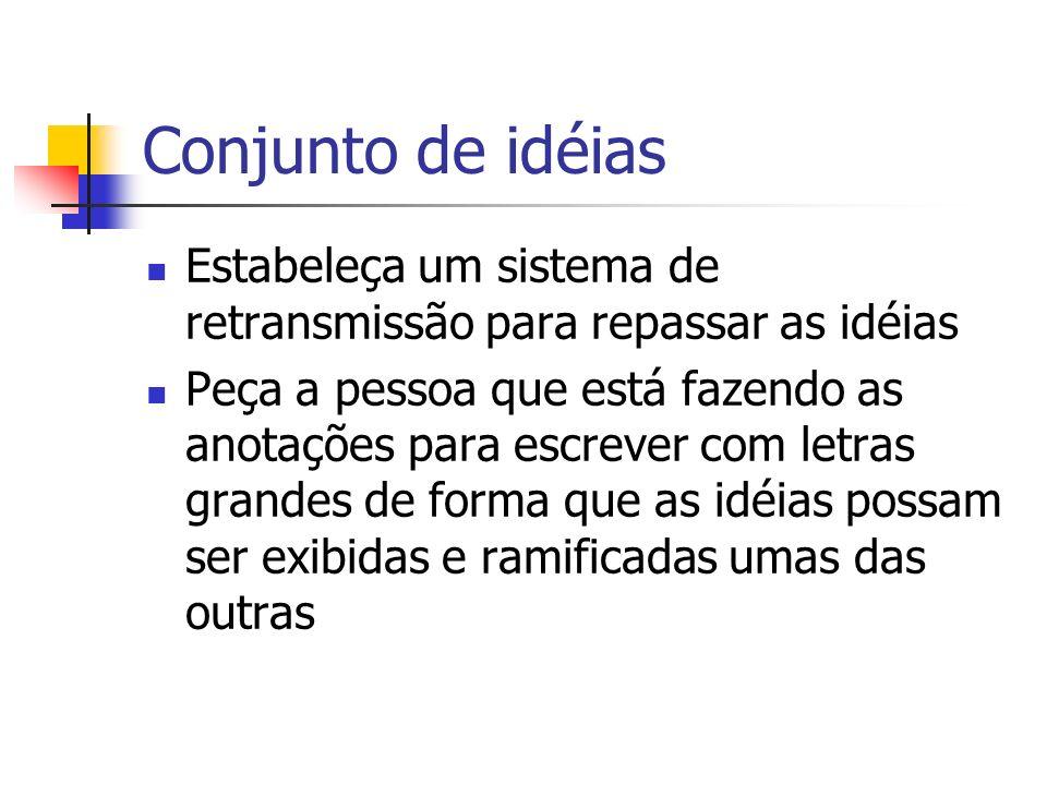 Conjunto de idéias Estabeleça um sistema de retransmissão para repassar as idéias.