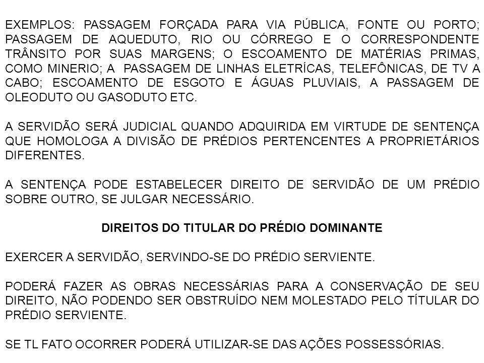 DIREITOS DO TITULAR DO PRÉDIO DOMINANTE