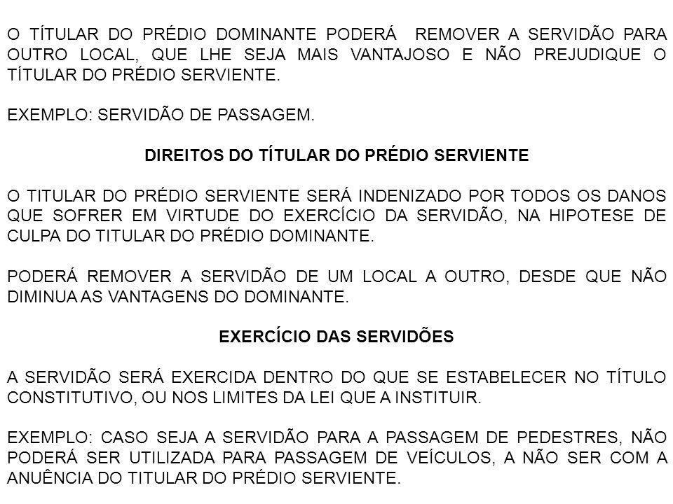 DIREITOS DO TÍTULAR DO PRÉDIO SERVIENTE EXERCÍCIO DAS SERVIDÕES