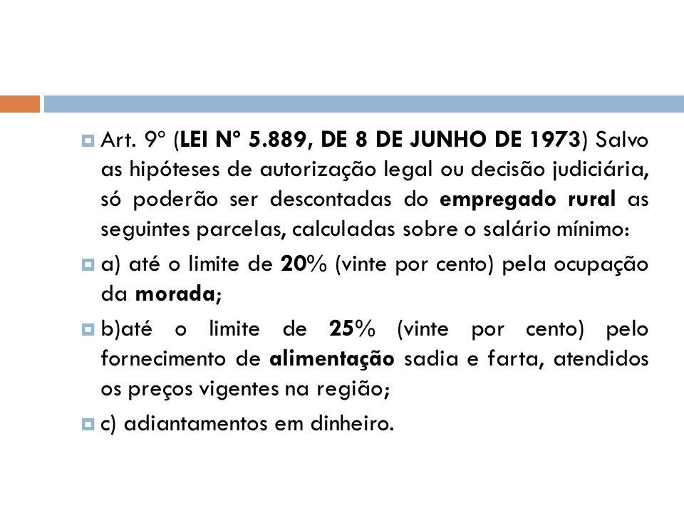 Art. 9º (LEI Nº 5.889, DE 8 DE JUNHO DE 1973) Salvo as hipóteses de autorização legal ou decisão judiciária, só poderão ser descontadas do empregado rural as seguintes parcelas, calculadas sobre o salário mínimo: