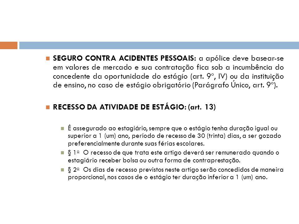 RECESSO DA ATIVIDADE DE ESTÁGIO: (art. 13)