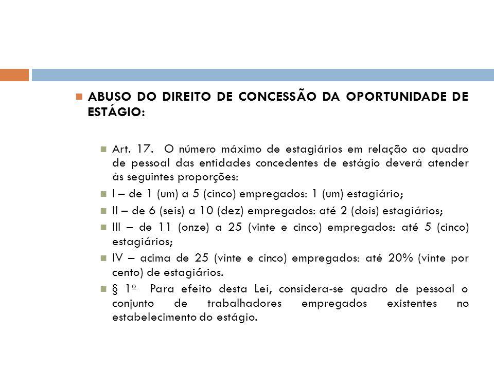 ABUSO DO DIREITO DE CONCESSÃO DA OPORTUNIDADE DE ESTÁGIO: