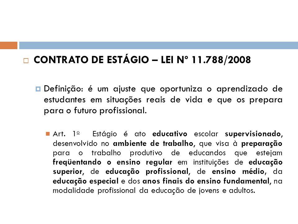 CONTRATO DE ESTÁGIO – LEI Nº 11.788/2008