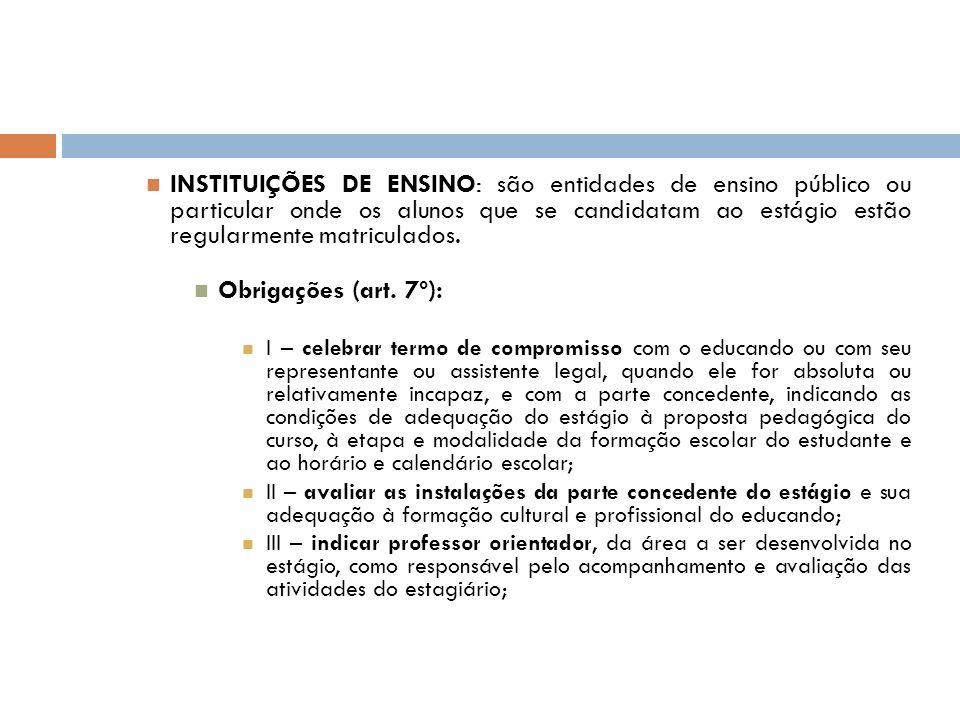 INSTITUIÇÕES DE ENSINO: são entidades de ensino público ou particular onde os alunos que se candidatam ao estágio estão regularmente matriculados.