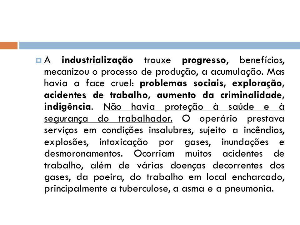 A industrialização trouxe progresso, benefícios, mecanizou o processo de produção, a acumulação.