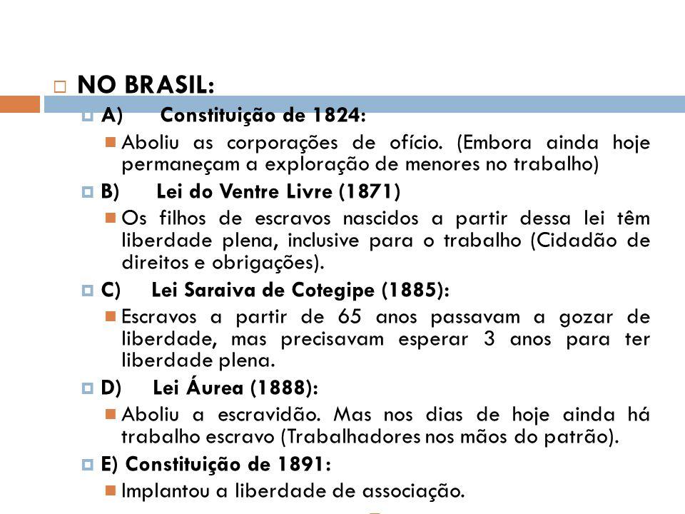 NO BRASIL: A) Constituição de 1824: