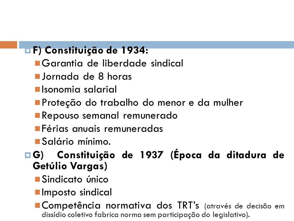 F) Constituição de 1934: Garantia de liberdade sindical. Jornada de 8 horas. Isonomia salarial. Proteção do trabalho do menor e da mulher.