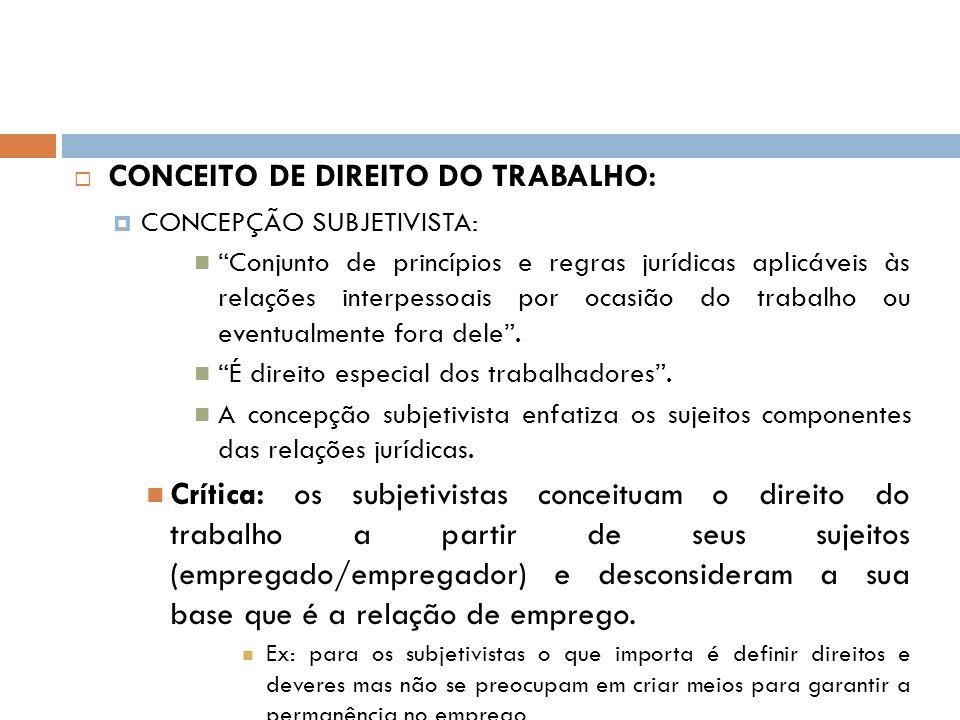 CONCEITO DE DIREITO DO TRABALHO: