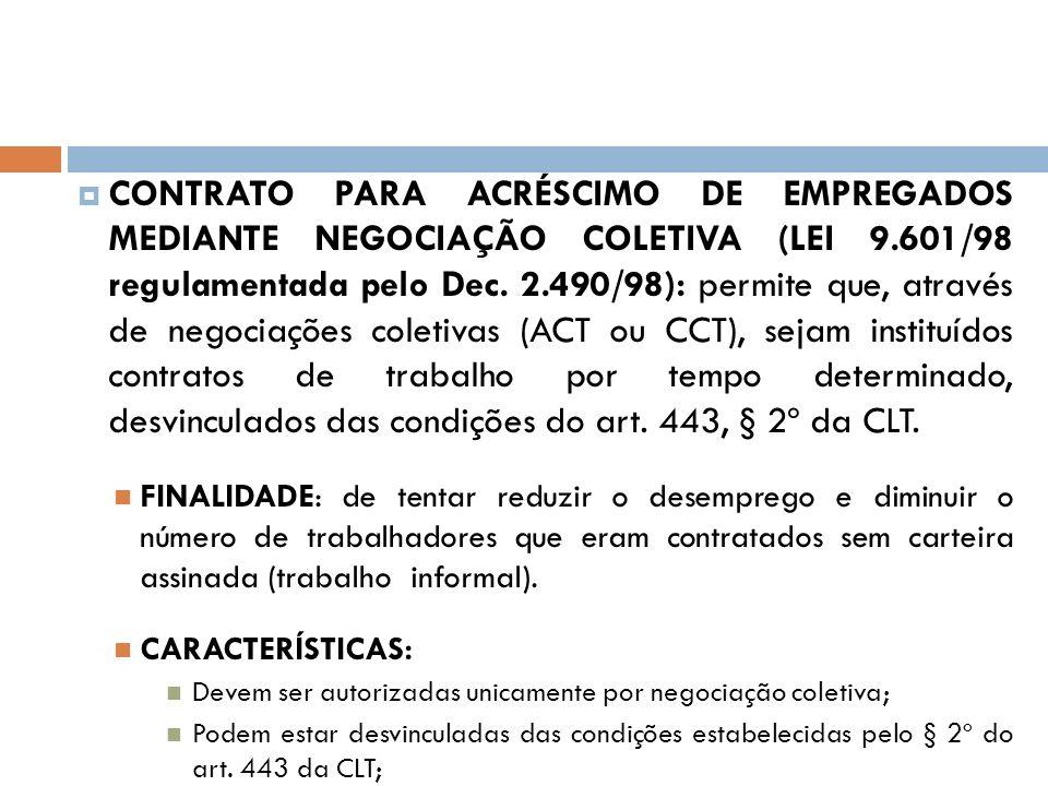 CONTRATO PARA ACRÉSCIMO DE EMPREGADOS MEDIANTE NEGOCIAÇÃO COLETIVA (LEI 9.601/98 regulamentada pelo Dec. 2.490/98): permite que, através de negociações coletivas (ACT ou CCT), sejam instituídos contratos de trabalho por tempo determinado, desvinculados das condições do art. 443, § 2º da CLT.