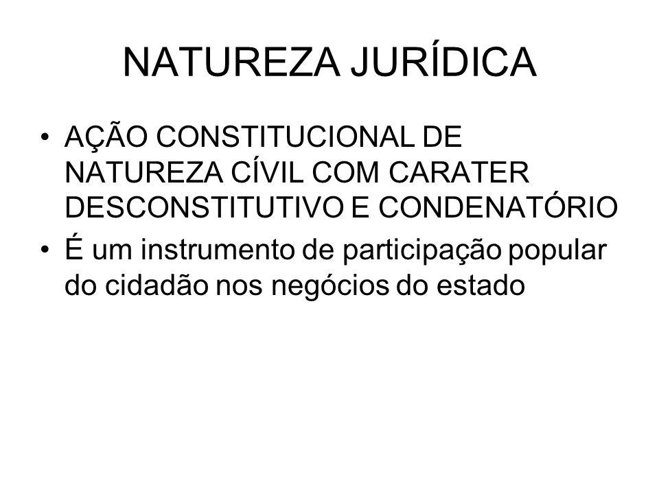 NATUREZA JURÍDICA AÇÃO CONSTITUCIONAL DE NATUREZA CÍVIL COM CARATER DESCONSTITUTIVO E CONDENATÓRIO.