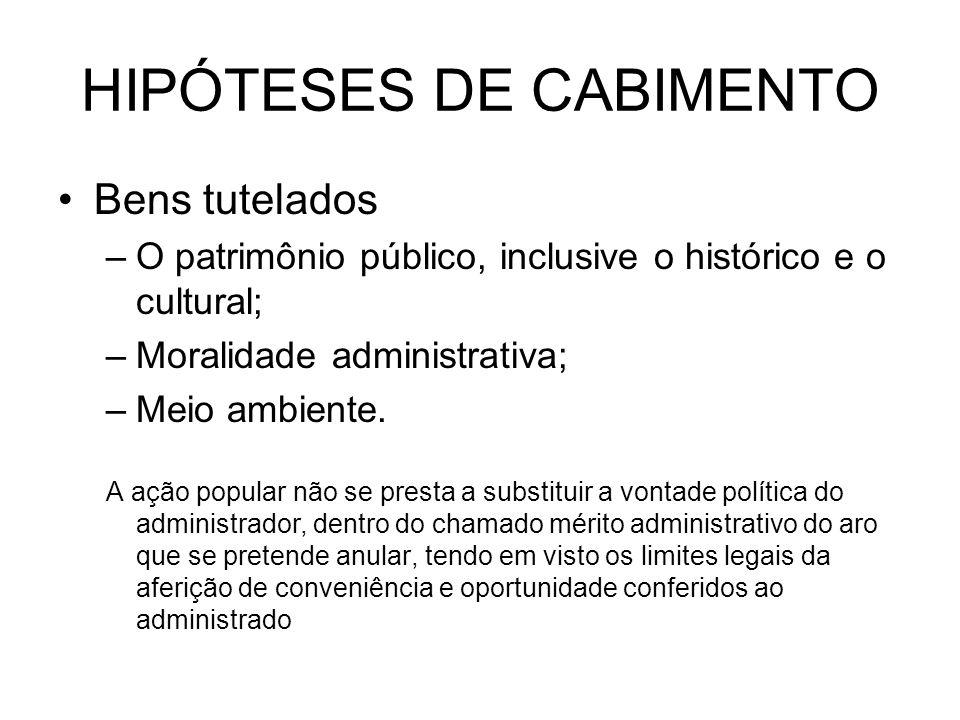 HIPÓTESES DE CABIMENTO