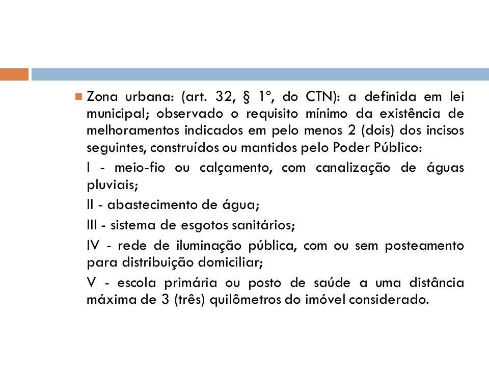 Zona urbana: (art. 32, § 1º, do CTN): a definida em lei municipal; observado o requisito mínimo da existência de melhoramentos indicados em pelo menos 2 (dois) dos incisos seguintes, construídos ou mantidos pelo Poder Público: