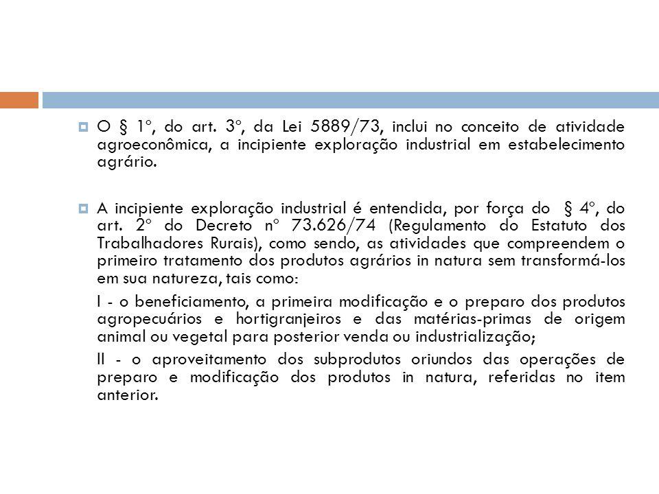 O § 1º, do art. 3º, da Lei 5889/73, inclui no conceito de atividade agroeconômica, a incipiente exploração industrial em estabelecimento agrário.