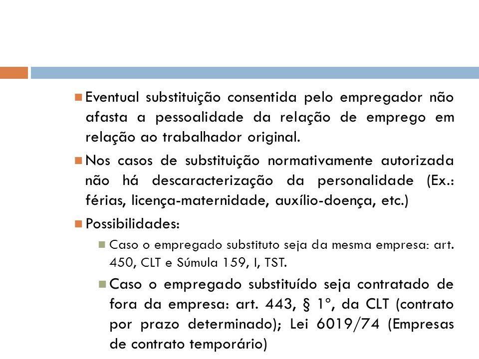 Eventual substituição consentida pelo empregador não afasta a pessoalidade da relação de emprego em relação ao trabalhador original.