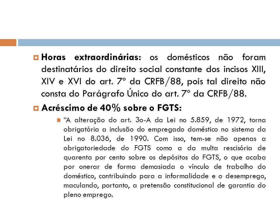Acréscimo de 40% sobre o FGTS: