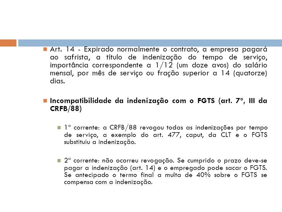 Incompatibilidade da indenização com o FGTS (art. 7º, III da CRFB/88)