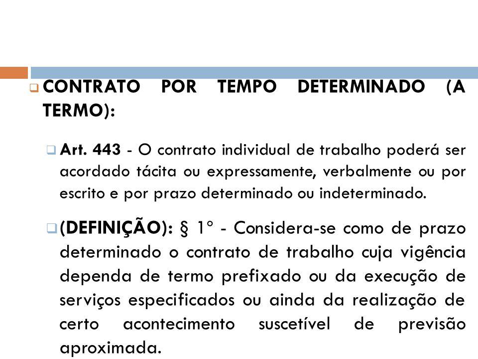 CONTRATO POR TEMPO DETERMINADO (A TERMO):