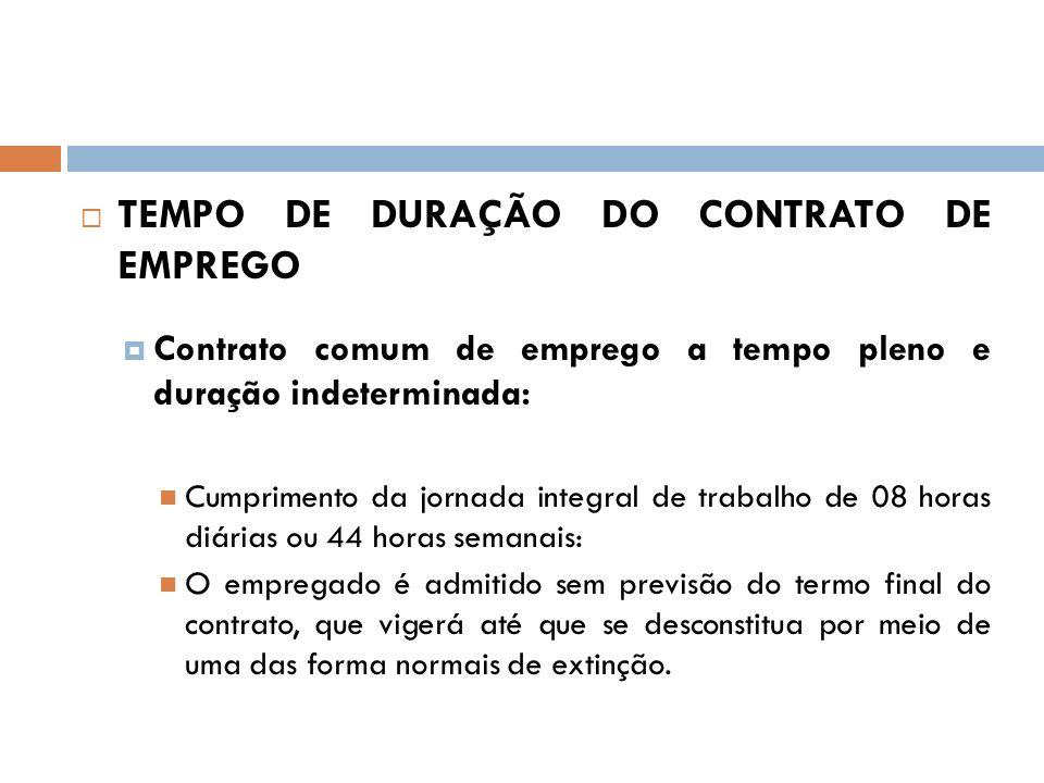 TEMPO DE DURAÇÃO DO CONTRATO DE EMPREGO