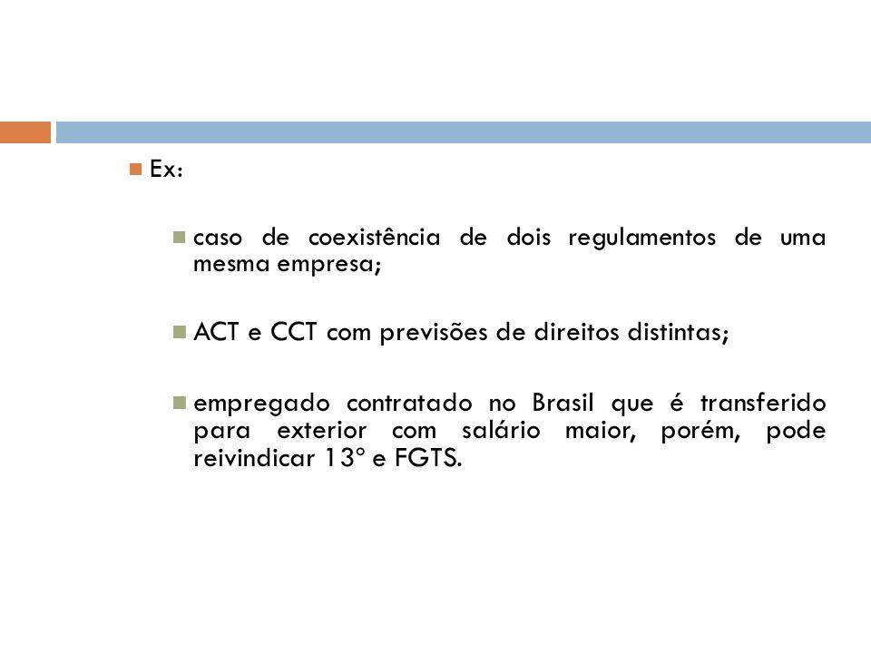 ACT e CCT com previsões de direitos distintas;