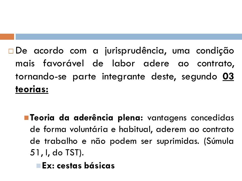 De acordo com a jurisprudência, uma condição mais favorável de labor adere ao contrato, tornando-se parte integrante deste, segundo 03 teorias:
