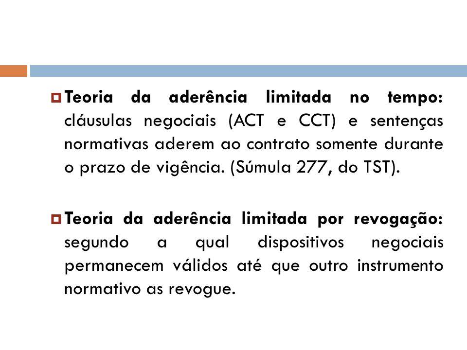 Teoria da aderência limitada no tempo: cláusulas negociais (ACT e CCT) e sentenças normativas aderem ao contrato somente durante o prazo de vigência. (Súmula 277, do TST).