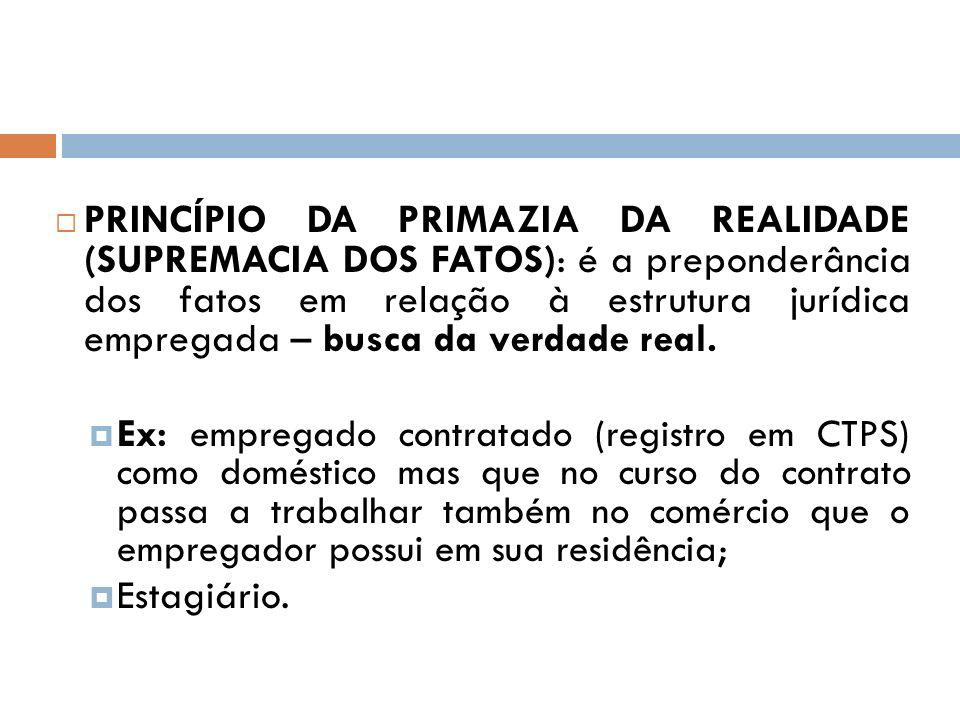 PRINCÍPIO DA PRIMAZIA DA REALIDADE (SUPREMACIA DOS FATOS): é a preponderância dos fatos em relação à estrutura jurídica empregada – busca da verdade real.