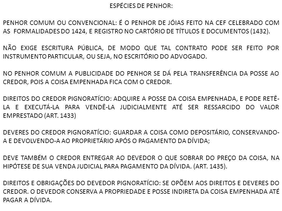 ESPÉCIES DE PENHOR: