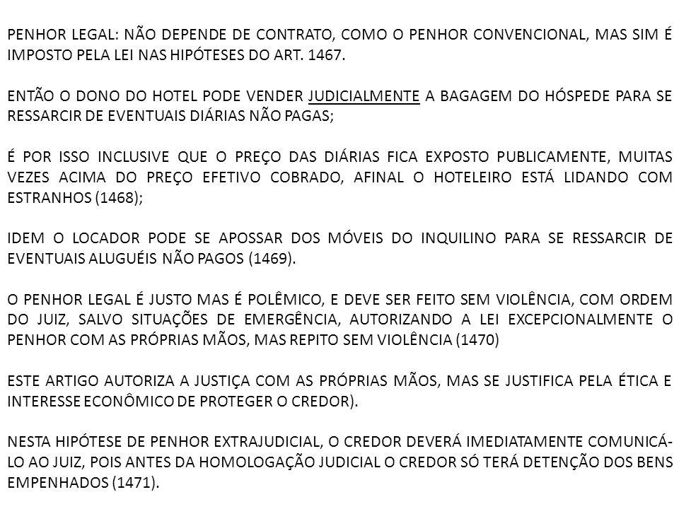 PENHOR LEGAL: NÃO DEPENDE DE CONTRATO, COMO O PENHOR CONVENCIONAL, MAS SIM É IMPOSTO PELA LEI NAS HIPÓTESES DO ART. 1467.