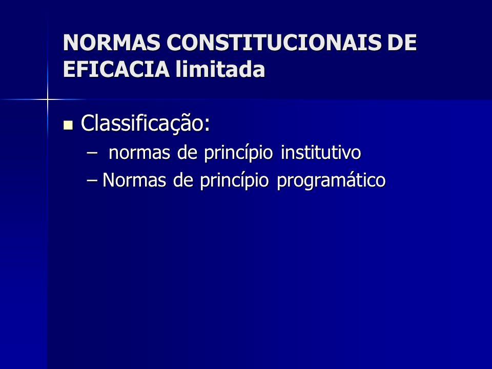 NORMAS CONSTITUCIONAIS DE EFICACIA limitada