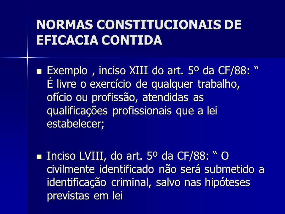 NORMAS CONSTITUCIONAIS DE EFICACIA CONTIDA