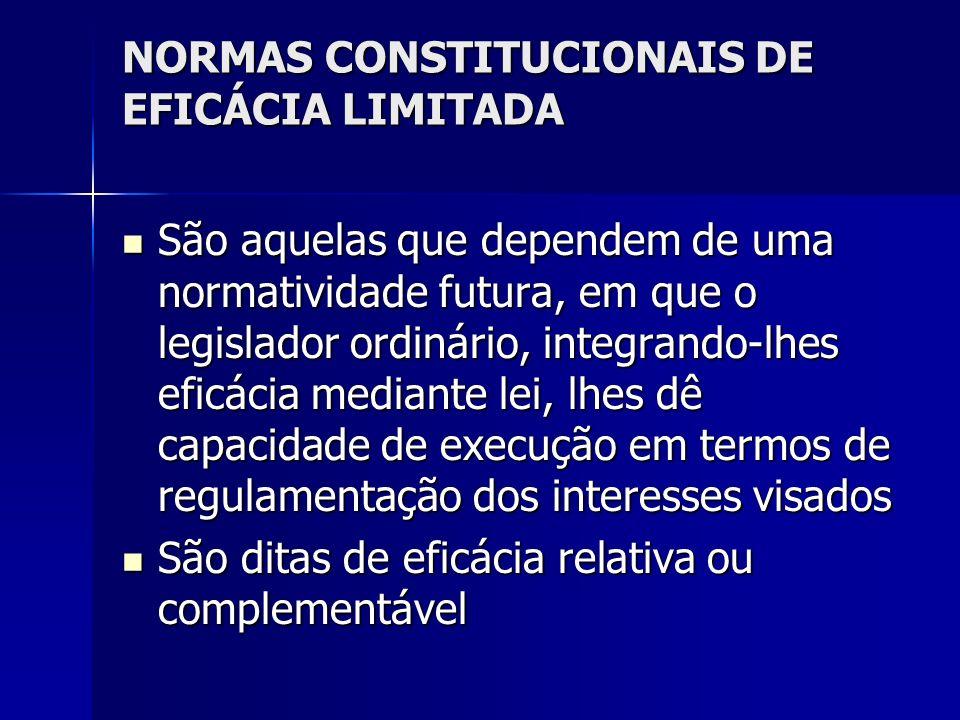 NORMAS CONSTITUCIONAIS DE EFICÁCIA LIMITADA