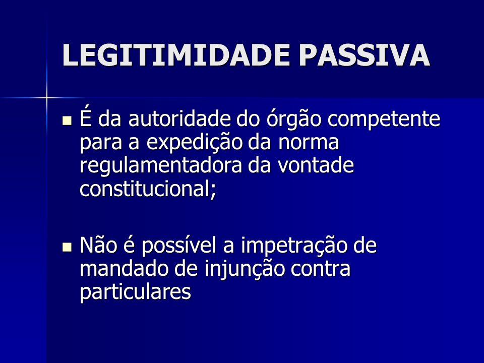 LEGITIMIDADE PASSIVA É da autoridade do órgão competente para a expedição da norma regulamentadora da vontade constitucional;