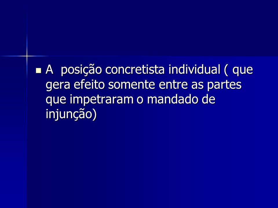 A posição concretista individual ( que gera efeito somente entre as partes que impetraram o mandado de injunção)