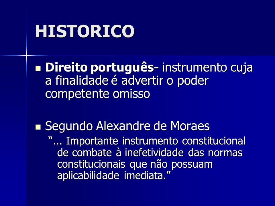 HISTORICO Direito português- instrumento cuja a finalidade é advertir o poder competente omisso. Segundo Alexandre de Moraes.