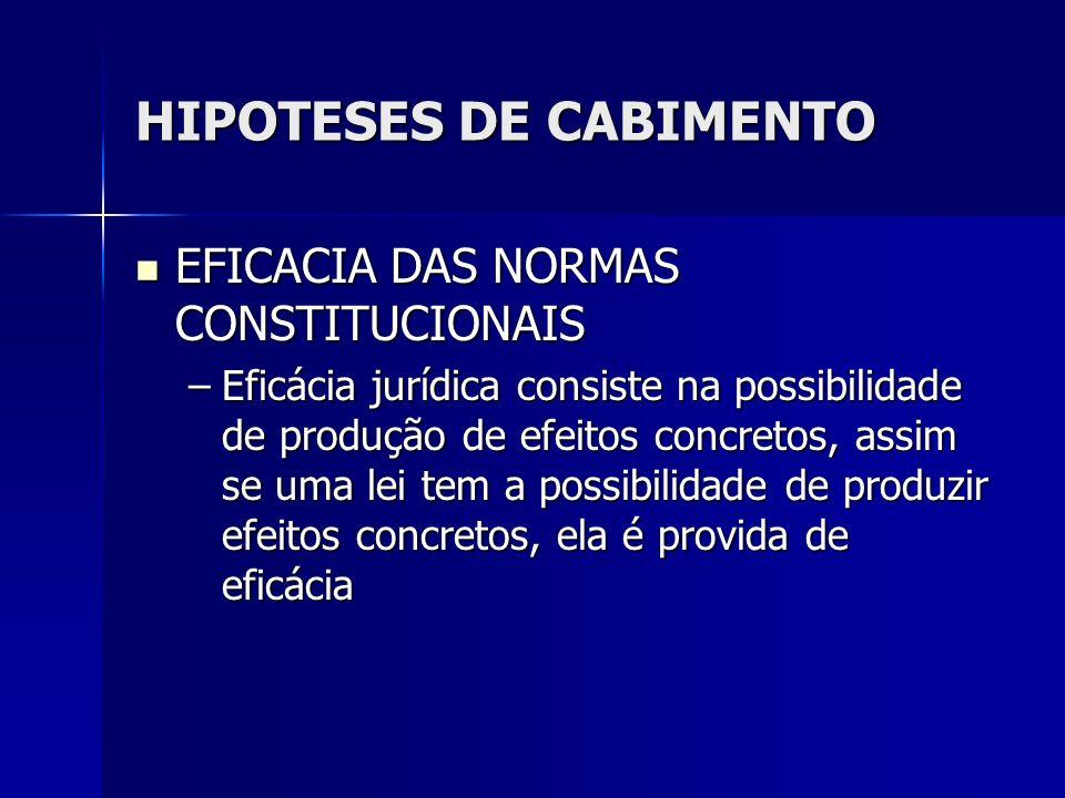 HIPOTESES DE CABIMENTO