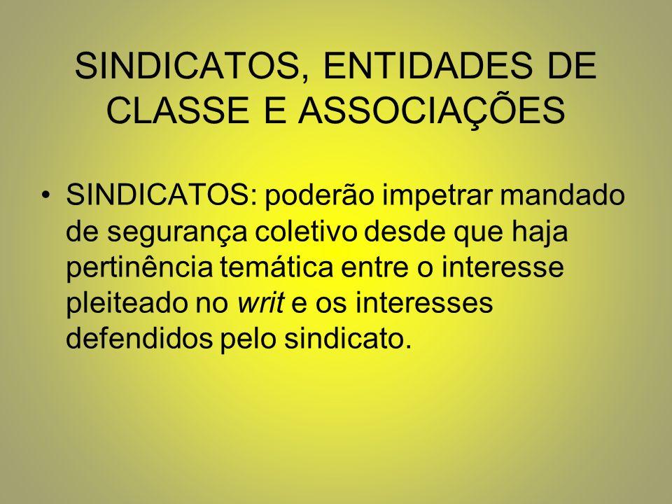 SINDICATOS, ENTIDADES DE CLASSE E ASSOCIAÇÕES