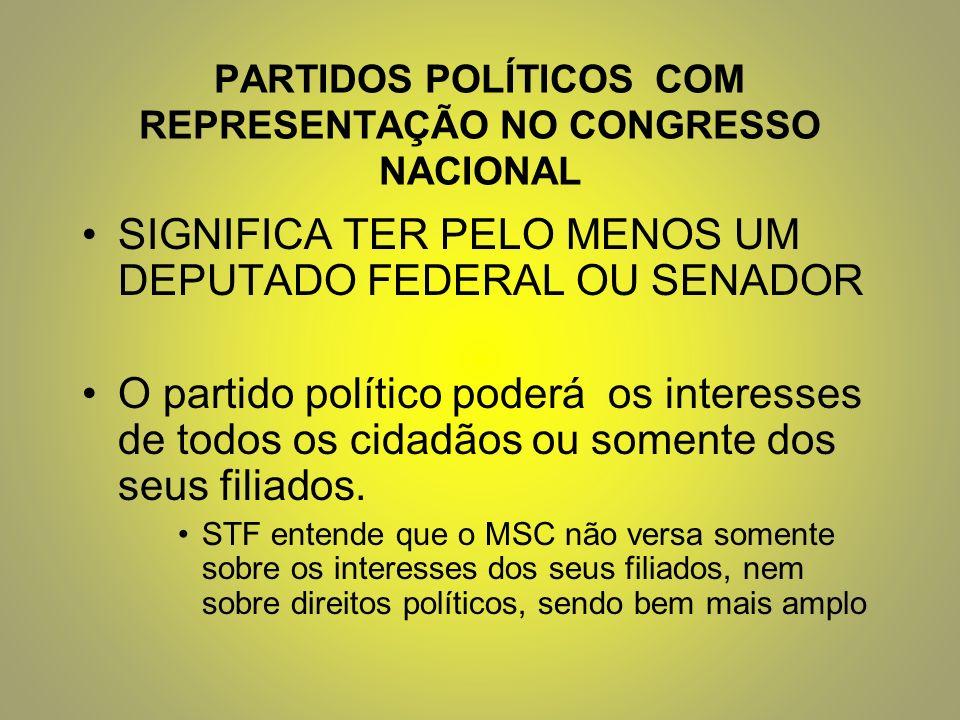 PARTIDOS POLÍTICOS COM REPRESENTAÇÃO NO CONGRESSO NACIONAL