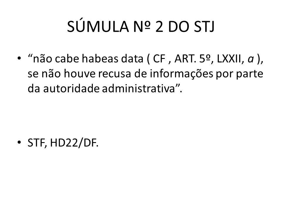 SÚMULA Nº 2 DO STJ não cabe habeas data ( CF , ART. 5º, LXXII, a ), se não houve recusa de informações por parte da autoridade administrativa .