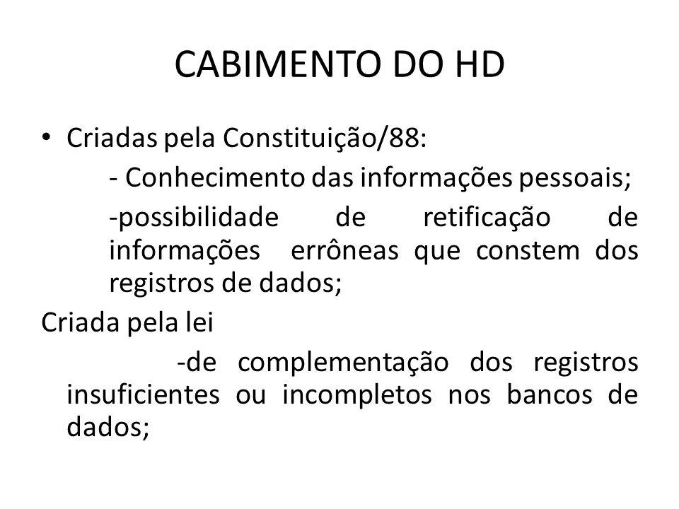CABIMENTO DO HD Criadas pela Constituição/88: