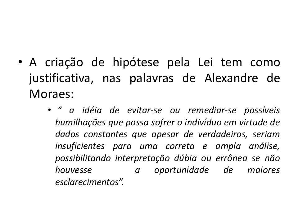 A criação de hipótese pela Lei tem como justificativa, nas palavras de Alexandre de Moraes: