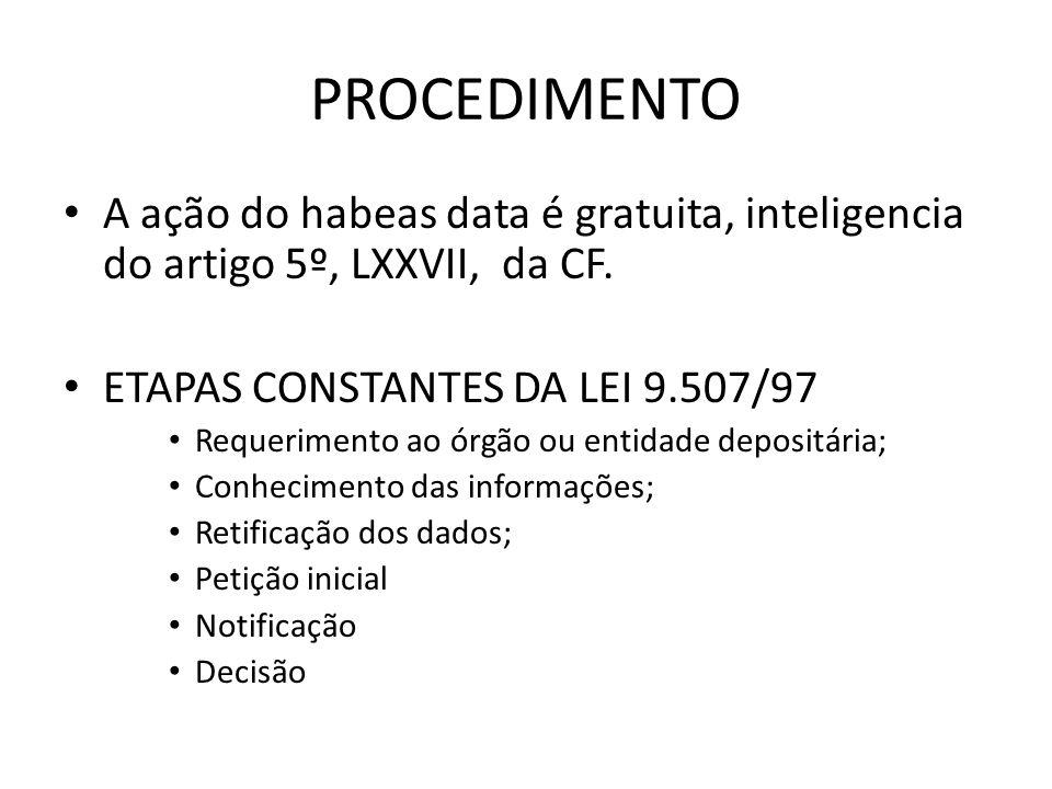 PROCEDIMENTO A ação do habeas data é gratuita, inteligencia do artigo 5º, LXXVII, da CF. ETAPAS CONSTANTES DA LEI 9.507/97.