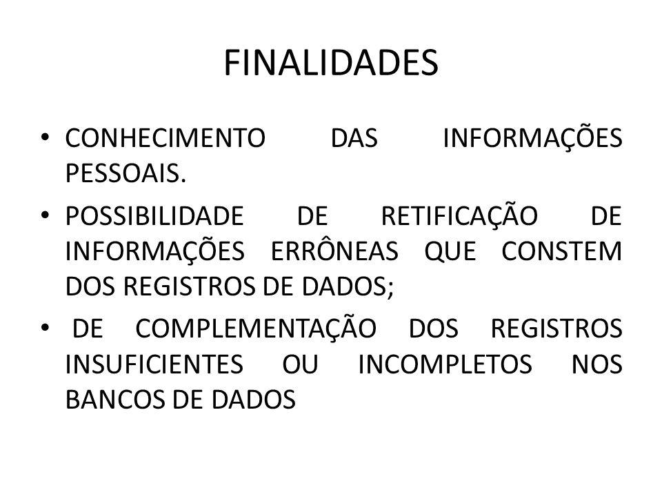 FINALIDADES CONHECIMENTO DAS INFORMAÇÕES PESSOAIS.