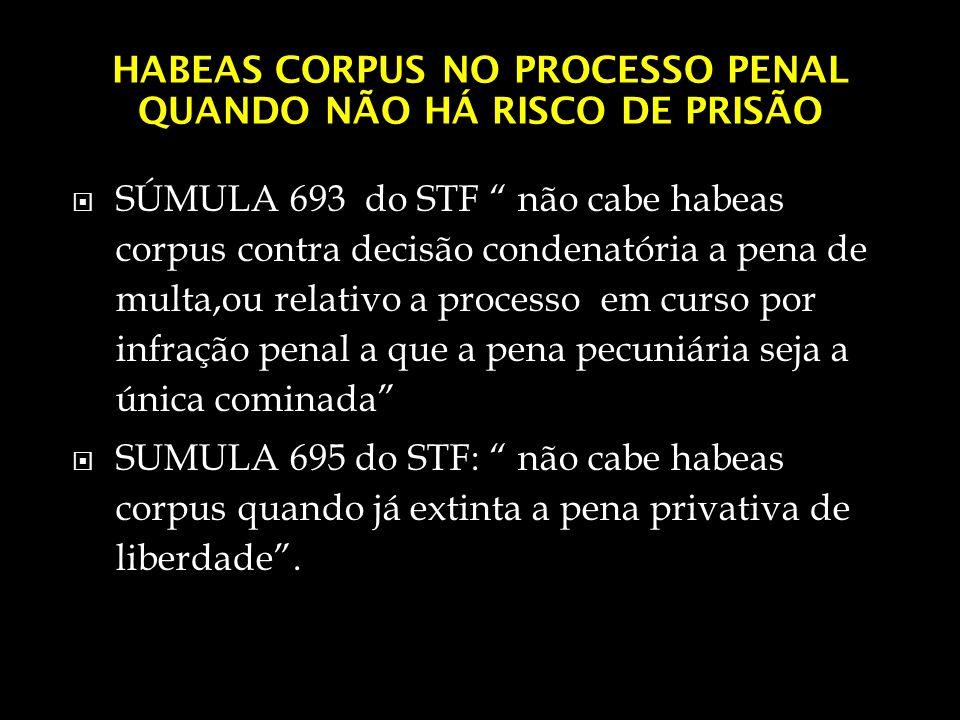 HABEAS CORPUS NO PROCESSO PENAL QUANDO NÃO HÁ RISCO DE PRISÃO