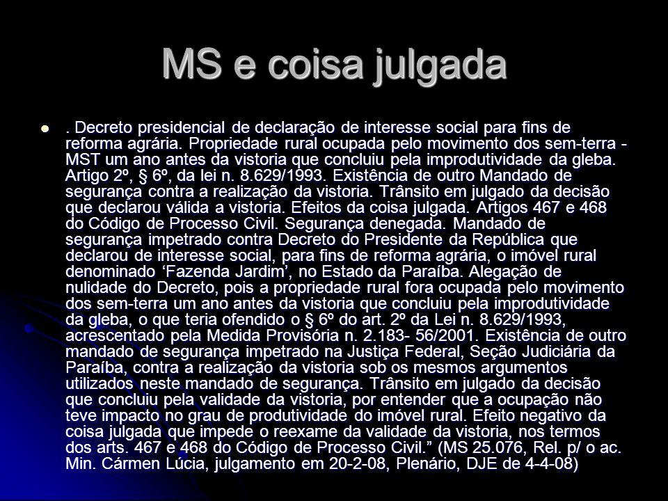 MS e coisa julgada