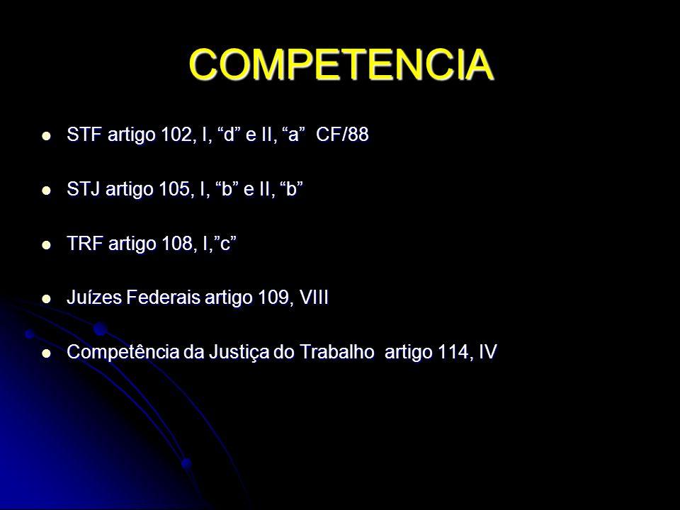 COMPETENCIA STF artigo 102, I, d e II, a CF/88