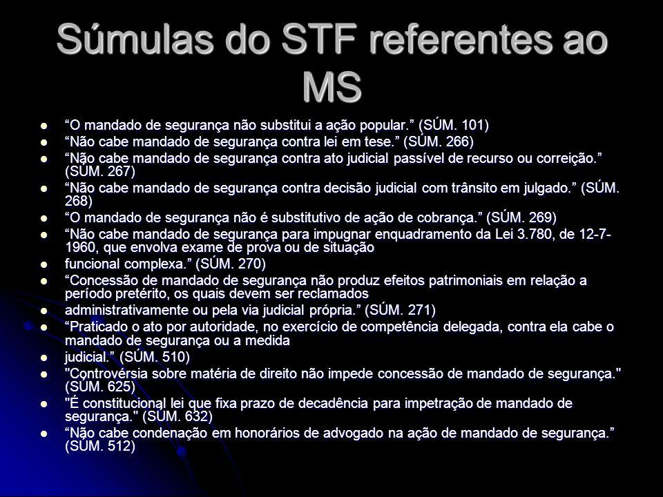 Súmulas do STF referentes ao MS