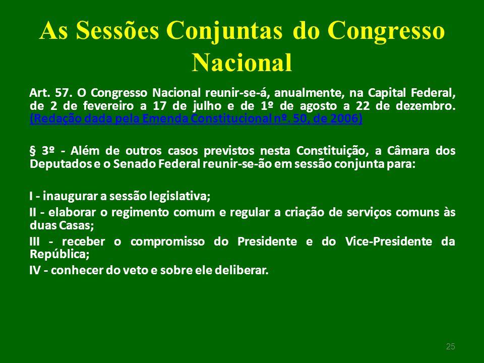 As Sessões Conjuntas do Congresso Nacional